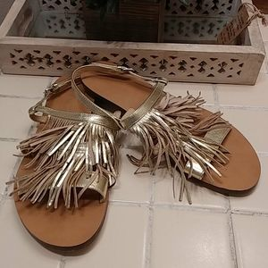 J crew metallic gold leather Fringe sandals